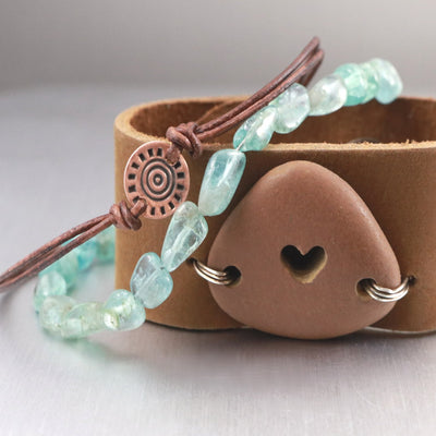 Beach Love Leather Heart Bracelet-Womens-LittleGreenRoomJewelry-LittleGreenRoomJewelry