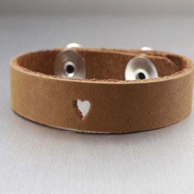 My Only Love Leather Heart Cuff Bracelet-Womens-LittleGreenRoomJewelry-LittleGreenRoomJewelry