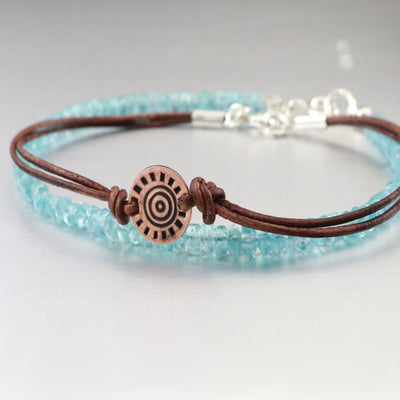 Genuine Apatite And Leather Bracelet Duo-Womens-LittleGreenRoomJewelry-LittleGreenRoomJewelry