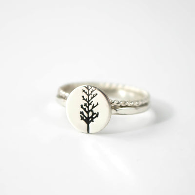 Sterling Silver Winter Tree Ring Set-Womens-LittleGreenRoomJewelry-LittleGreenRoomJewelry