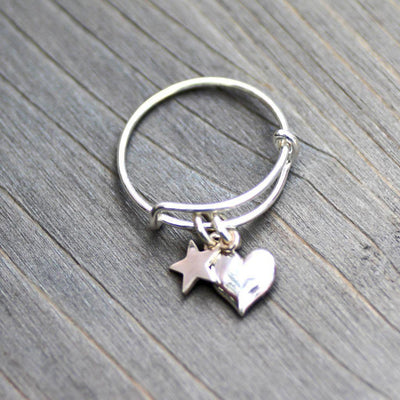 Sterling Heart Ring-Charm Ring-Star Ring-Womens-LittleGreenRoomJewelry-LittleGreenRoomJewelry