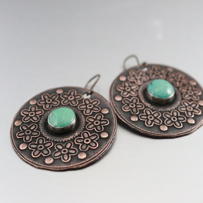 Boho Copper Turquoise Earrings-Womens-LittleGreenRoomJewelry-LittleGreenRoomJewelry