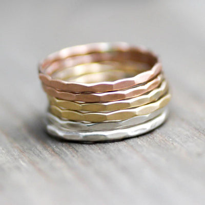 Custom Stack Rings - Gold Stack Rings - Sterling Silver Stacking Rings-Womens-LittleGreenRoomJewelry-LittleGreenRoomJewelry