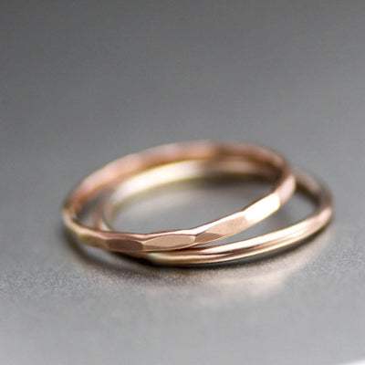 Rose Gold Stacking Ring, Set Of Two Stack Rings-Womens-LittleGreenRoomJewelry-LittleGreenRoomJewelry