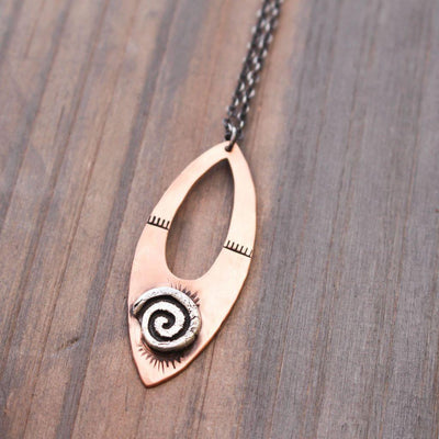 Tribal Copper Necklace- Sterling Silver Necklace-Womens-LittleGreenRoomJewelry-LittleGreenRoomJewelry