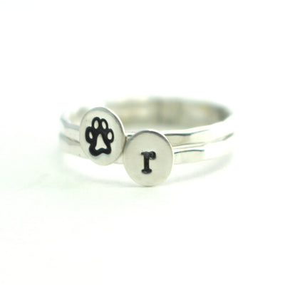 Paw Print Initial Rings- Custom Pet Initial Paw Print Stack Ring Set-Womens-LittleGreenRoomJewelry-LittleGreenRoomJewelry