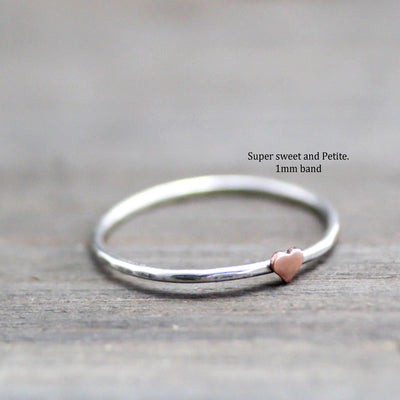 Sweet Tiny Copper Heart Ring-Womens-LittleGreenRoomJewelry-LittleGreenRoomJewelry