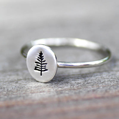 Little Northwoods Pine Tree Ring- Pine Tree Stack Ring-Womens-LittleGreenRoomJewelry-LittleGreenRoomJewelry