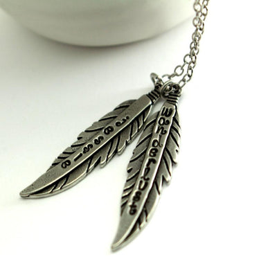 Feather Charm Necklace- Custom Hipster Feather Charm Necklace-Womens-LittleGreenRoomJewelry-LittleGreenRoomJewelry