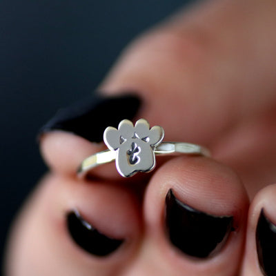 Custom Paw Print Initial Ring- Sterling Silver Paw Print Ring-Womens-LittleGreenRoomJewelry-LittleGreenRoomJewelry
