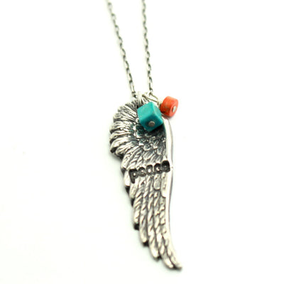Sterling Hipster Angel Wing Necklace-Womens-LittleGreenRoomJewelry-LittleGreenRoomJewelry