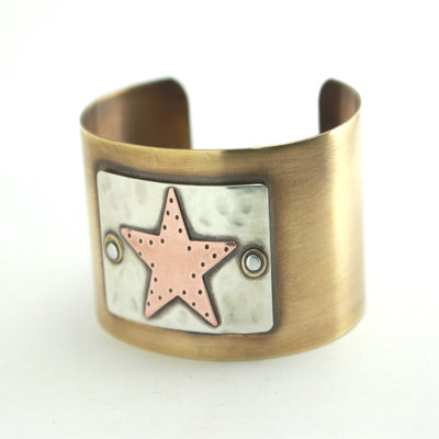 Urban Star Cuff Bracelet- Artisan Mixed Metal Star Cuff-Womens-LittleGreenRoomJewelry-LittleGreenRoomJewelry