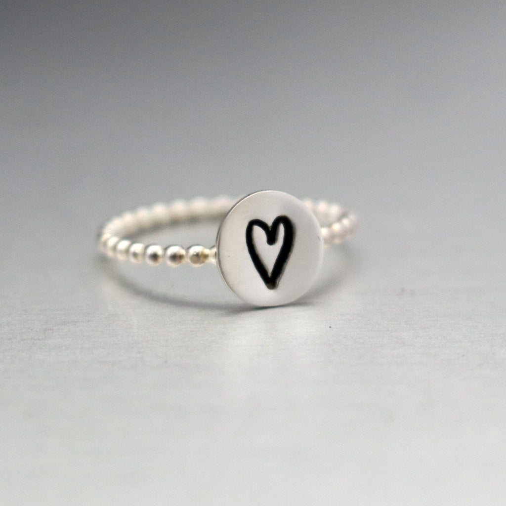 Beaded Sterling Silver Heart Ring-Womens -LittleGreenRoomJewelry-LittleGreenRoomJewelry 2a665c42cb