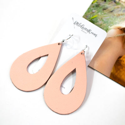 Peach Teardrop Leather Earrings-Womens-LittleGreenRoomJewelry-LittleGreenRoomJewelry