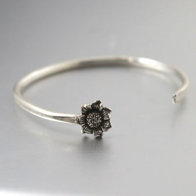 Sterling Silver Sunflower Cuff Bracelet-Womens-LittleGreenRoomJewelry-LittleGreenRoomJewelry