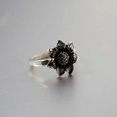Sterling Silver Sunflower Ring-Womens-LittleGreenRoomJewelry-LittleGreenRoomJewelry