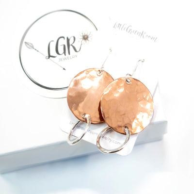 Modern Copper Hammered Disk Earrings-Womens-LittleGreenRoomJewelry-LittleGreenRoomJewelry