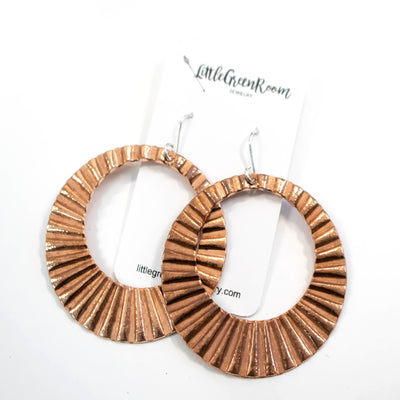 Modern Corrugated Copper Hoops-Womens-LittleGreenRoomJewelry-LittleGreenRoomJewelry