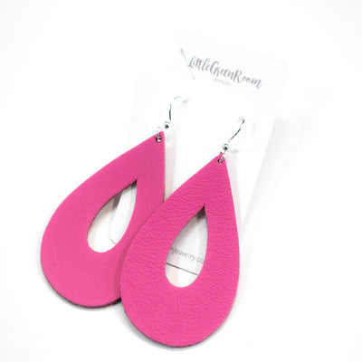 Bright Pink Leather Teardrop Earrings-Womens-LittleGreenRoomJewelry-LittleGreenRoomJewelry