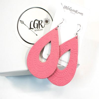 Carnation Pink Embossed Leather Earrings-Womens-LittleGreenRoomJewelry-LittleGreenRoomJewelry