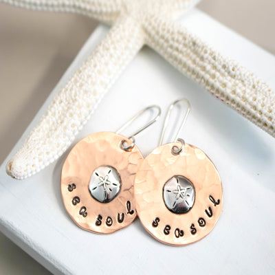 Copper And Sterling Sand Dollar Earrings-Womens-LittleGreenRoomJewelry-LittleGreenRoomJewelry