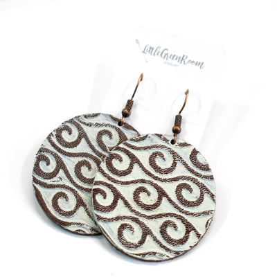 Beach Waves Leather Earrings-Womens-LittleGreenRoomJewelry-LittleGreenRoomJewelry