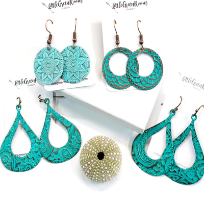 Turquoise Paisley Print Earrings-Womens-LittleGreenRoomJewelry-LittleGreenRoomJewelry