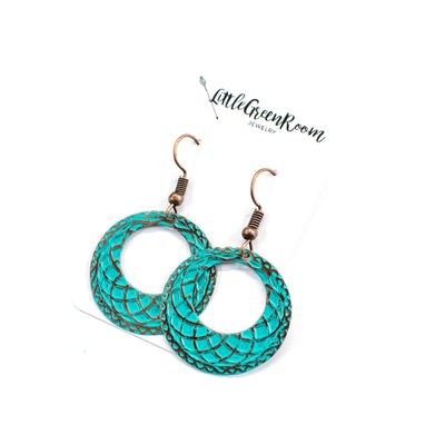 At The Beach Babe Turquoise Hoop Earrings-Womens-LittleGreenRoomJewelry-LittleGreenRoomJewelry