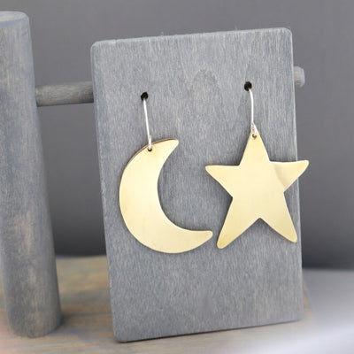Crescent Moon And Star Earrings-Womens-LittleGreenRoomJewelry-LittleGreenRoomJewelry