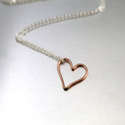Rose Gold Heart Charm Necklace-Womens-LittleGreenRoomJewelry-LittleGreenRoomJewelry