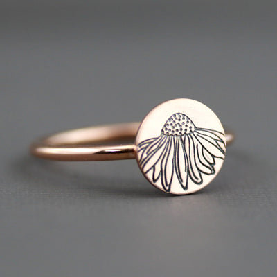 Rose Gold Echinacea Flower Ring-Womens-LittleGreenRoomJewelry-LittleGreenRoomJewelry