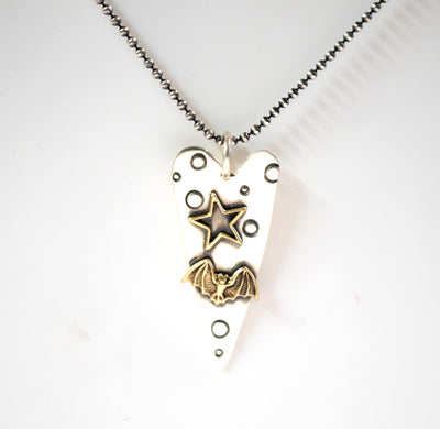Flying Bat And Star Necklace-Womens-LittleGreenRoomJewelry-LittleGreenRoomJewelry