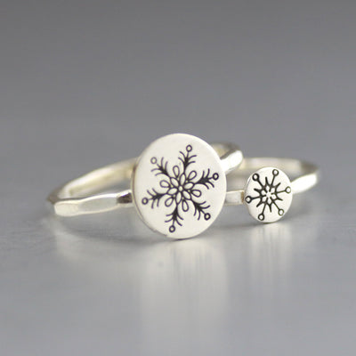 Sterling Snowflake Stacking Ring-Womens-LittleGreenRoomJewelry-LittleGreenRoomJewelry