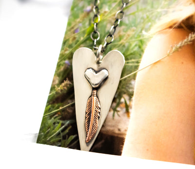 Boho Copper Feather Heart Necklace-Womens-LittleGreenRoomJewelry-LittleGreenRoomJewelry