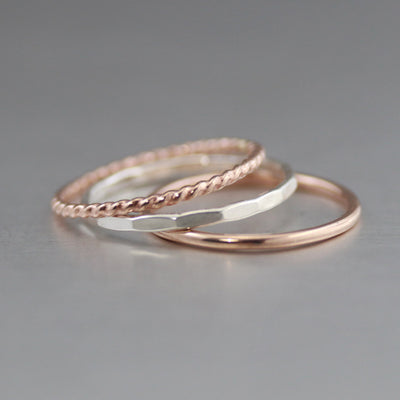 Rose Gold And Sterling Silver Textured Stack Ring Set-Womens-LittleGreenRoomJewelry-LittleGreenRoomJewelry