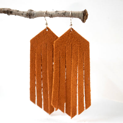 Cinnamon Suede Leather Fringe Earrings-Womens-LittleGreenRoomJewelry-LittleGreenRoomJewelry