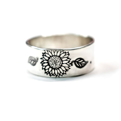 Sterling Artisan Wild Sunflower Ring-Womens-LittleGreenRoomJewelry-LittleGreenRoomJewelry