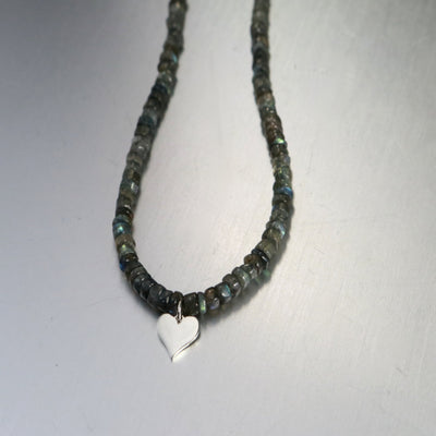 Elegant Labradorite Heart Necklace-Womens-LittleGreenRoomJewelry-LittleGreenRoomJewelry