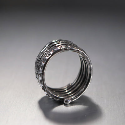 Modern Sterling Silver Spiral Ring-Womens-LittleGreenRoomJewelry-LittleGreenRoomJewelry