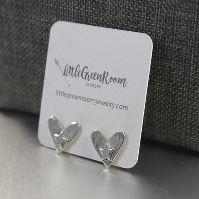 Sterling Silver Heart And Star Earrings-Womens-LittleGreenRoomJewelry-LittleGreenRoomJewelry