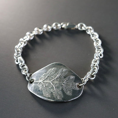 Winters Leaf Sterling Silver Link Bracelet-Womens-LittleGreenRoomJewelry-LittleGreenRoomJewelry