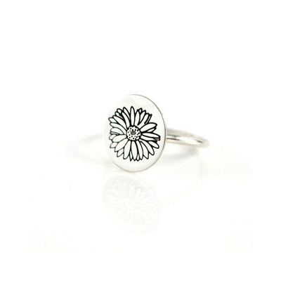 Sterling Gerbera Daisy Stack Ring-Womens-LittleGreenRoomJewelry-LittleGreenRoomJewelry