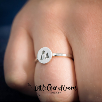 Sterling Tiny Tree Stacking Ring-Womens-LittleGreenRoomJewelry-LittleGreenRoomJewelry