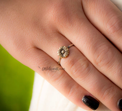 Sweet Boho Sunflower Stacking Ring-Womens-LitttleGreenRoomJewelry-LittleGreenRoomJewelry