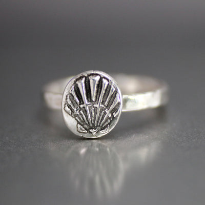 Sterling Silver Sea Shell Ring - Womens Shell Ring - Beach Ring-Womens-LittleGreenRoomJewelry-LittleGreenRoomJewelry
