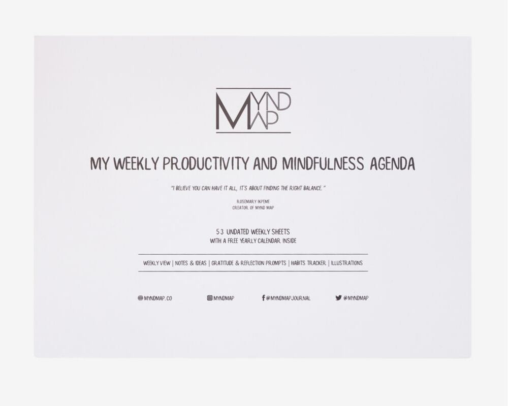 MYnd Map MY Weekly Mindfulness and Productivity Agenda
