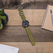 army-green-ballistic-nylon-2-piece-zulu-watchband-on-watch