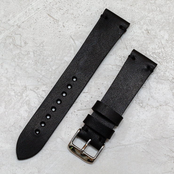 Black Horween Dublin Minimalist Leather Watchband