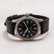 Black Horween Dublin Minimalist Leather Watchband on Hamilton Khaki Field