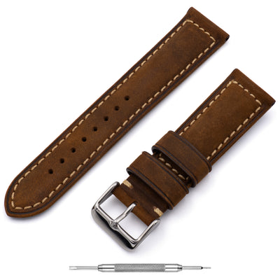 Padded Oiled Leather <br> Dark Brown